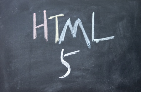 html 5: html 5 sign written with chalk on blackboard Stock Photo