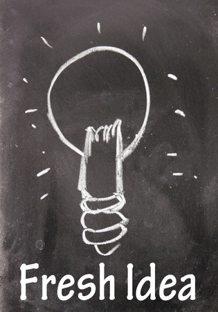fresh idea sign drawn with chalk on blackboard photo