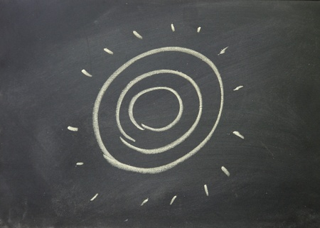 sun drawn with chalk on blackboard photo