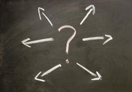 question and arrow Standard-Bild