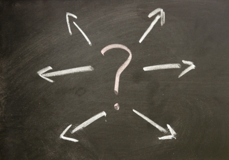 pregunta y flecha Foto de archivo