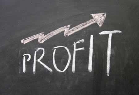 decline in values: up profit sign