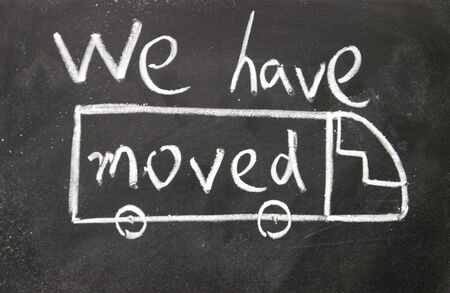 moved: we have moved sign  Stock Photo