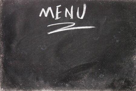 blankness: menu title written with chalk on blackboard Stock Photo