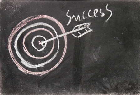 achieved: The arrow of success hit the target