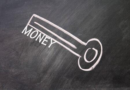 abstract money key drawn with chalk on blackboard Stock Photo - 16613198