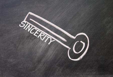 sincerity: abstract sincerity key drawn with chalk on blackboard Stock Photo