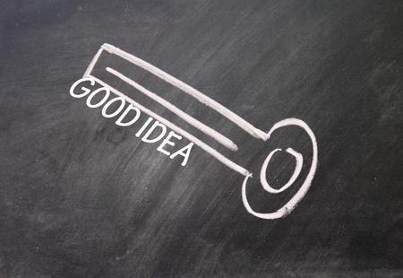 abstract good idea key drawn with chalk on blackboard Stock Photo - 16613278