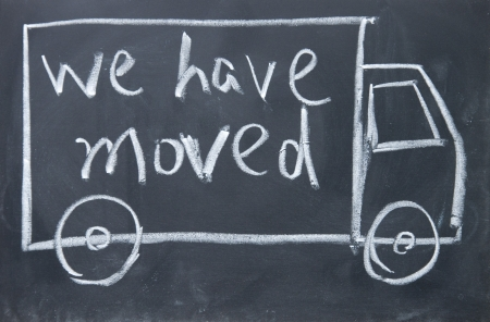 we have moved sign  Stock Photo