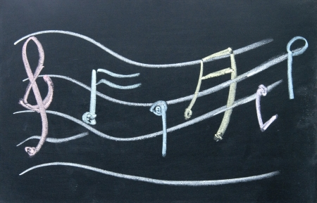 semiquaver: Staff notation  sign drawn with chalk on blackboard
