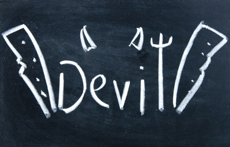 devil sign drawn with chalk on blackboard photo