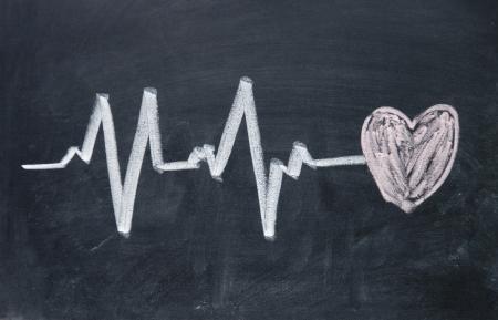 ハートビート記号と愛の心のパターン 写真素材