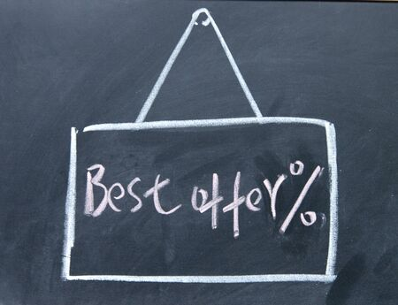 best seller: best offer board drawn with chalk on blackboard Stock Photo