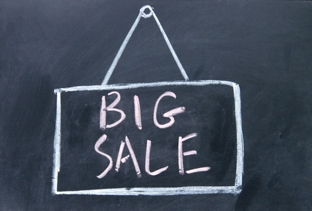 big sale board drawn with chalk on blackboard photo
