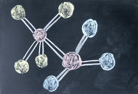 molecule model drawn with chalk on blackboard photo