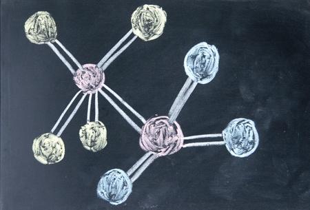 numerator: molecule model drawn with chalk on blackboard