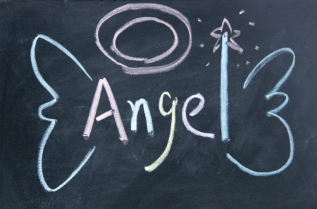 angel white: angel sign  drawn with chalk on blackboard