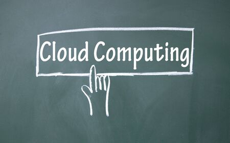 abstract finger click cloud computing sign photo
