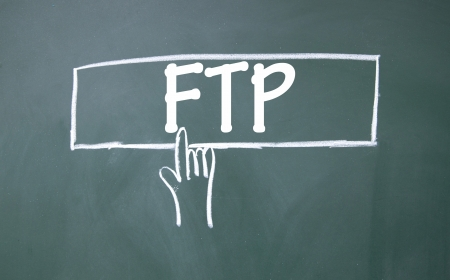 ftp: abstract finger click ftp sign Stock Photo