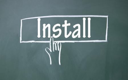 computer repair technician: abstract finger click install sign