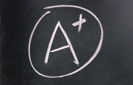 grading: A  plus sign drawn with chalk on blackboard