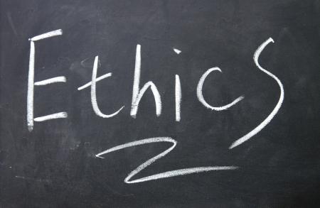 decency: ethics sign written with chalk on blackboard Stock Photo