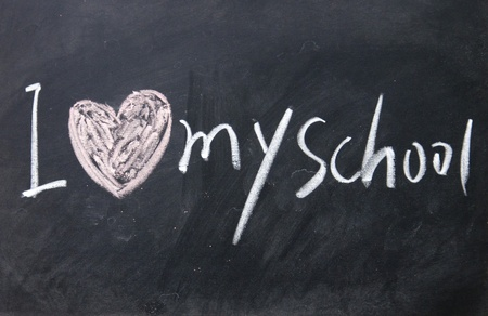 blankness: I love my school sign written with chalk on blackboard