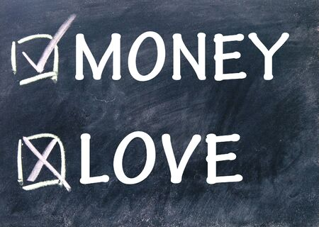 money or love choices Stock Photo - 17104273