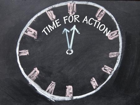動作クロックのサインのための時間 写真素材