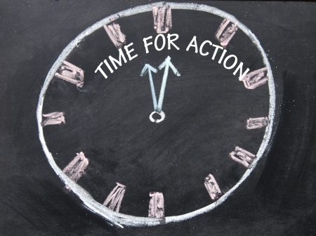 time for action clock sign  photo
