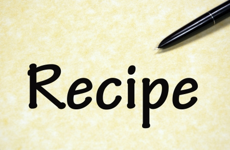 recipe sign written with pen on paper photo