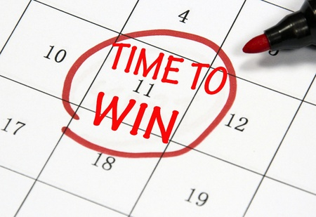 time to win sign written with pen on paper Stock Photo - 17207754