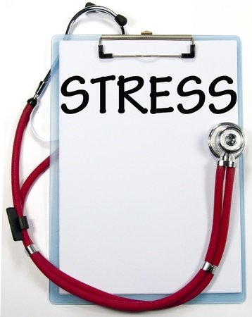 worried executive: stress diagnosis sign  Stock Photo