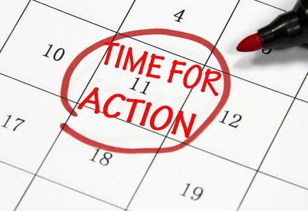 tijd voor actie klok teken Stockfoto