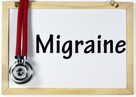 migraine title written on blackboard photo