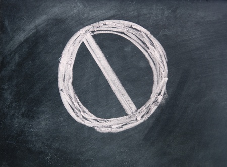Prohibited symbol drawn with chalk on blackboard Stock Photo - 17750788