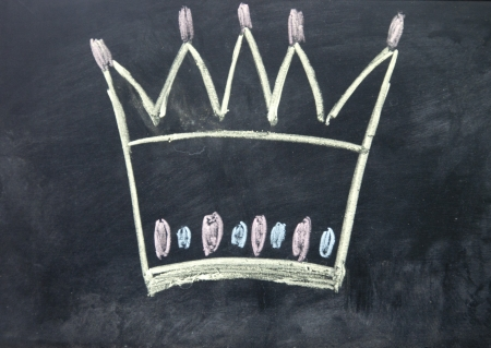 crown sign drawn with chalk on blackboard photo
