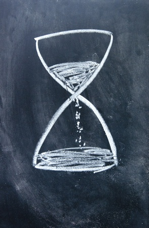hourglass sign drawn with chalk on blackboard photo