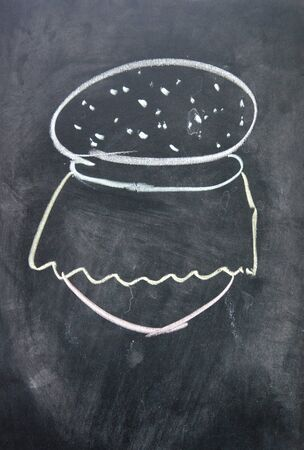 Hamburger sign drawn with chalk on blackboard photo
