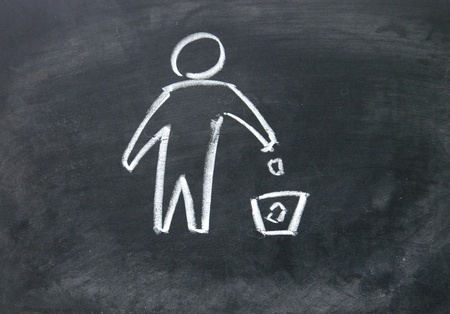 Recycling symbol drawn with chalk on blackboard Stock Photo - 17750757