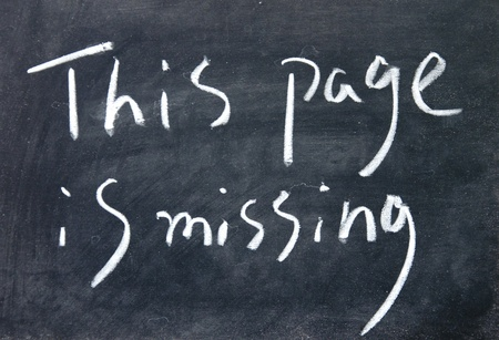 this page is missing title written with chalk on blackboard Stock Photo - 17750783