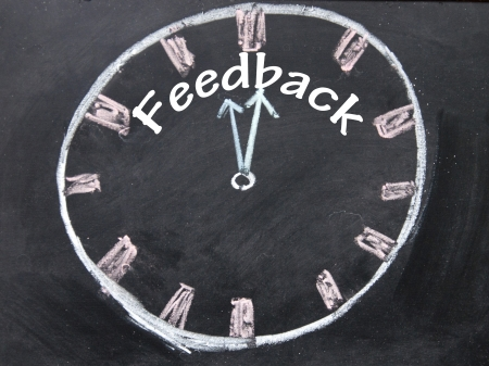 feedback time clock sign  Stock Photo - 18815417