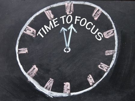 time to focus clock sign