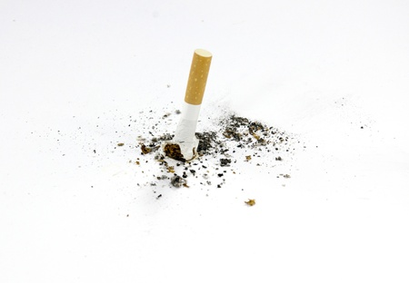 Cigarette butt isolated on white  photo