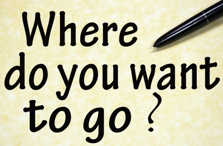 where do you want to go title written with pen on paper Stock Photo