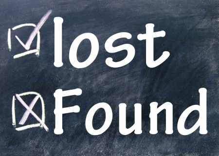 found: lost and found choice Stock Photo
