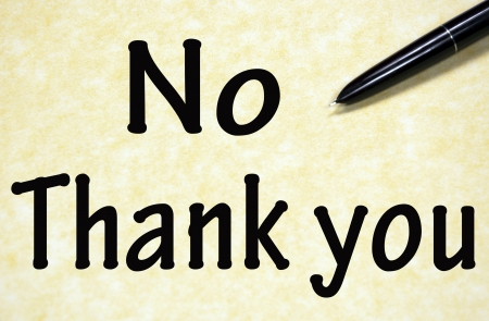 no thank you title written with pen on paper photo