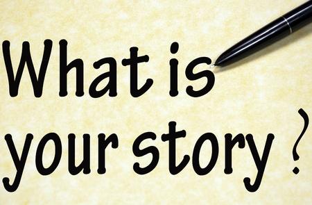 紙にペンで書かれたあなたのストーリーのタイトルは何ですか 写真素材