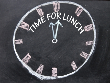 lunchtime: time for lunch clock