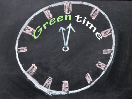 green time clock  Stock Photo - 19142070